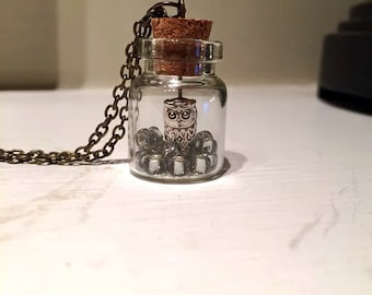 Silver Owl on the Rocks Jar Necklace
