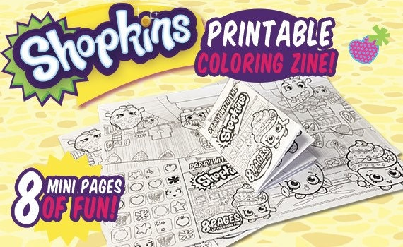 Shopkins Party Theme Digital Coloring Book Zine by OhWowDesign