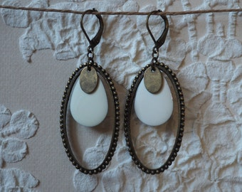 Earrings ear ovals and drops unbleached