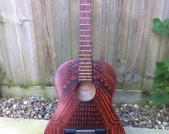 Unique Customised Aztec Tribal Inspired Acoustic Guitar