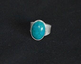 Green Chrysocolla Malachite Fine Silver Ring