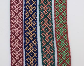 Handmade knotted Friendship Bracelets burgundy pink blue green