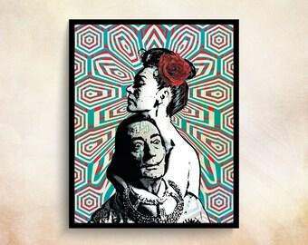 Pop Art Print Salvador Dali Print Dali Print Op Art Pop Art Poster 60s Wall Art Pop Surrealism Vintage Art 60s Poster Watch Salvador Dali