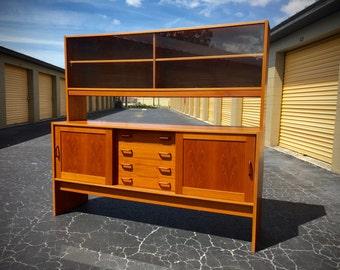 Mid Century Modern Danish Teak Credenza - Sideboard - Removable Hutch