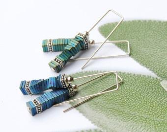 Sterling Silver Earrings,Multi-Colored Modern Earrings,Blue-Green Earrings,Two Tone Earrings,Dangle Earrings,Threader Earrings,Blue Earrings