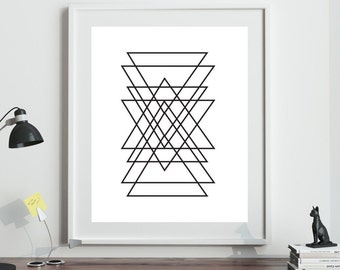 Geometric Print, Printable Poster, Black Line Art Printable, New Home Gift, Modern Minimal Abstract Wall Art, INSTANT DIGITAL DOWNLOAD