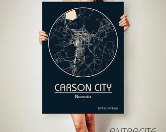 CARSON CITY Nevada CANVAS Map Carson City Nevada Poster City Map Carson City Nevada Art Print Carson City Nevada poster Carson City Nevada