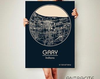 GARY Indiana CANVAS Map Gary Indiana Poster City Map Gary Indiana Art Print Gary Indiana poster