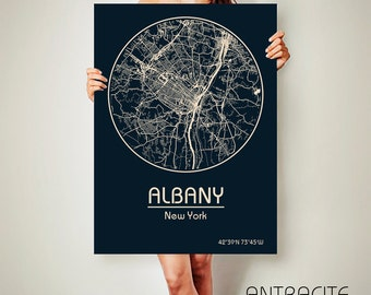 ALBANY New York CANVAS Map Albany New York Poster City Map Albany New York Art Print Albany New York poster Albany New York map