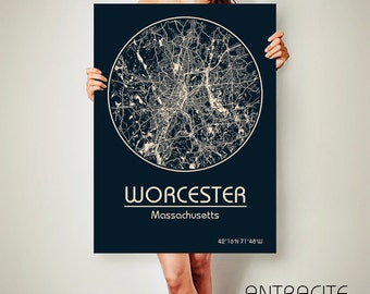 WORCESTER Massachusetts City Map Worcester Massachusetts Art Print Worcester Massachusetts poster Worcester Massachusetts map