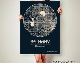 BETHANY Oklahoma CANVAS Map Bethany Oklahoma Poster City Map Bethany Oklahoma Art Print Bethany Oklahoma poster