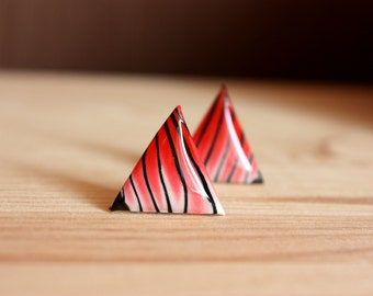 Red stud earrings Red triangle studs Red triangle earrings Red post earrings Resin stud earrings Tiny stud earrings Small studs Glossy studs