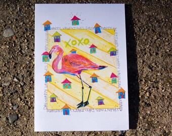 Valentine's Day Card Flamingo