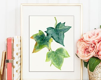 Watercolor ivy leaves printable, green leaf for instant download