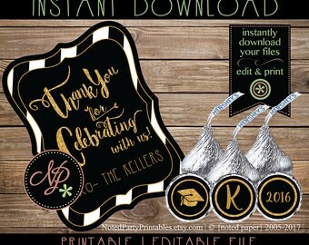 Black and Gold Graduation Favor Tags | Black & Gold Hershey Kiss Sticker Circles | Graduation Party Favors | Instant Download Printable File
