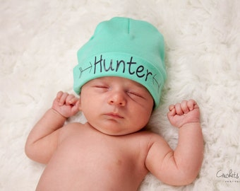 Aqua green and grey Personalized newborn boy hat.newborn baby boy hat.newborn hat.arrow hat.newborn boy beanie.hospital hat.take home hat