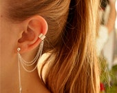 Double chain cuff leaf earrings, triple chain,  Leaf earrings, Chain earrings, cuff earrings