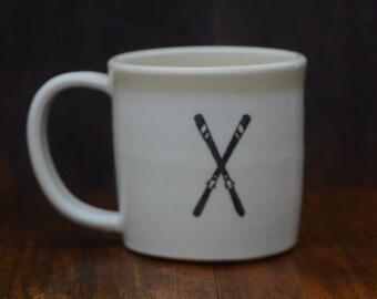 Ski mug, handmade porcelain