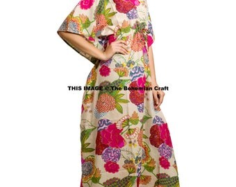 Floral Printed Kaftan, Beach Cover Up, Night Gown, Sun Dress, Indian Cotton Caftan, Maternity Gown, Best Gift for Her, Plus Size Maxi