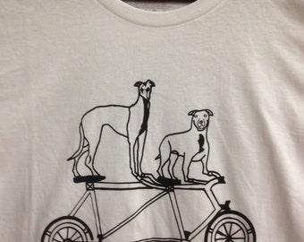 Pit Bull Tee- Greyhound Tee- Bicycle Tee- Pit Bull Gift- Greyhound Gift- Dog Lover Tee- Dog Lover Gift- Bike Gift- Hand Drawn- Size Large