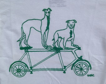 Bike Tee Shirt- Pit Bull Tee Shirt- Greyhound Tee Shirt- Children's Gift- Toddlers Gift- Babies Gift- Hand Drawn