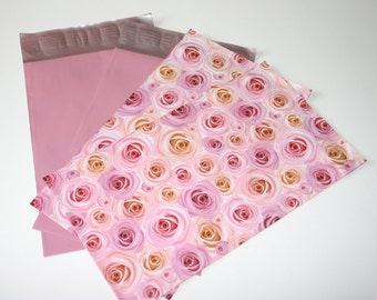 100 6x9 Pale Pink And Designer Roses Poly Mailers Self Sealing Envelopes   Shipping Bags 50 Each