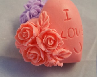Heart soap, I love you soap, rose soap, valentine soap
