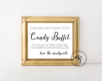 Wedding Candy Buffet Sign | Candy Bar | Wedding Reception Sign Decor | 8x10 | Instant Download