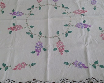 Vintage Tablecloth Purple, Pink and Green Pattern on Ivory Coloured Linen, Square Hand Embroidered Tablecloth  with Crochet Lace Edging