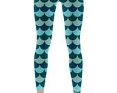 Leggings. Mermaid Leggings. Ocean Blue Yoga Pants. Tights. Festival Clothing