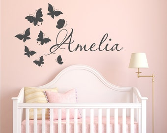 Name Wall Decal Girl- Butterfly Name Wall Decal - Personalized Wall Decals Girls Bedroom Decor- Wall Decal Kids Girls Room Home Decor 011