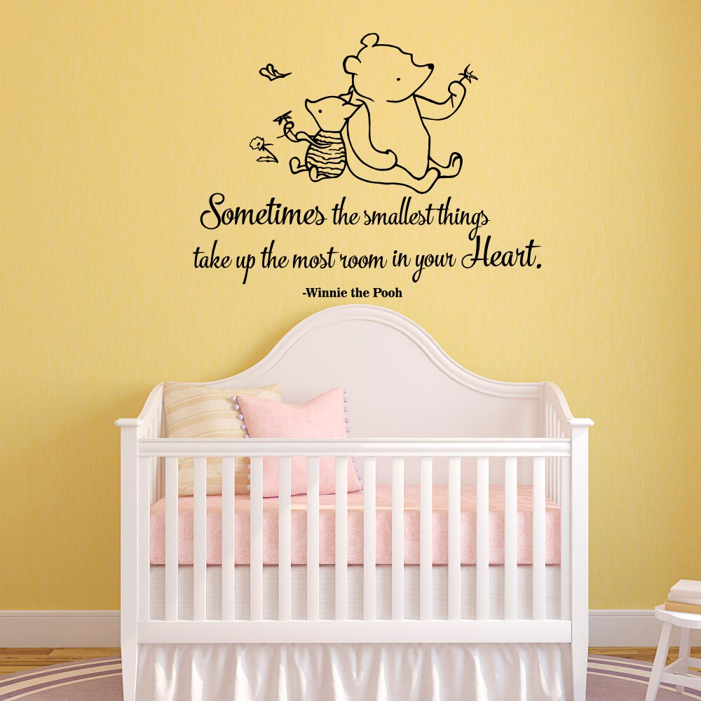 Winnie the pooh quote wall decal sometimes the smallest for Classic pooh wall mural