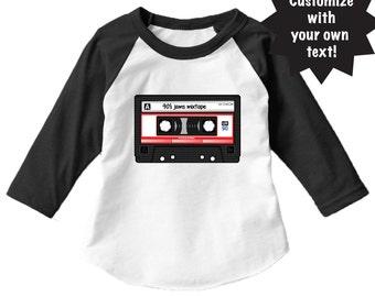 Mixtape Cassette Customizable Infant / Toddler / Youth 3/4 Sleeve Raglan Baseball T-Shirt