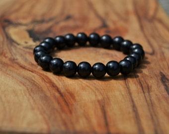 Charcoal Wood - 8mm Wooden Bead Bracelet