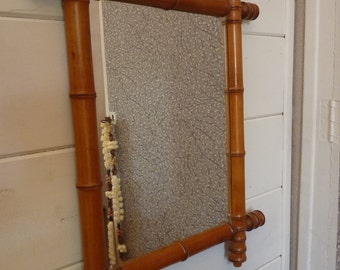 vintage mirror wooden way bamboo frame