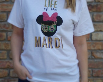 Minnie Mouse Mardi Gras Shirt for Adults & Children / Disney Mardi Gras Shirt / Disney Minnie Mouse Shirt / Life of the Mardi Shirt