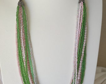 Pink and Green Multi Strand Necklace
