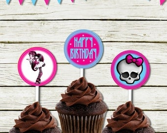 Cupcake toppers  (Monster High inspired) (DIGITAL FILE ONLY)