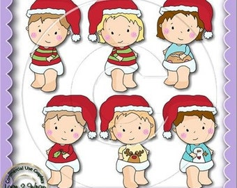 Sweet Christmas Babies, Baby Clipart, Commercial Use