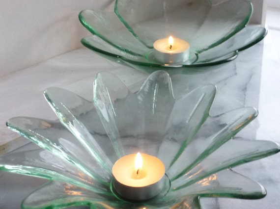 Pair of Green Glass Flower-Shaped candle holders, tea light holder, wedding, anniversary, center pieces, celebration, Christmas, gifts