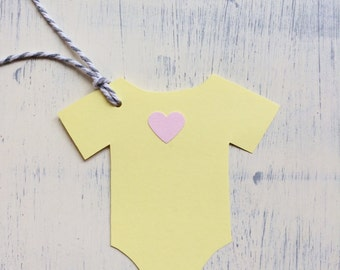 Onesie gift tags, handmade tags for baby shower gift tags
