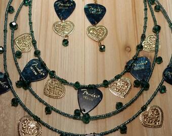 Guitar pick necklace set
