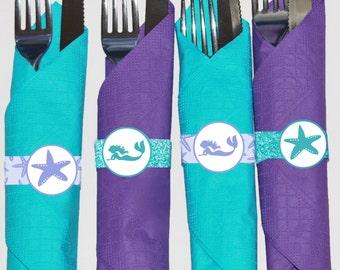 Mermaid party napkin rings printable, Mermaid birthday decorations, Under the sea napkin rings, Mermaid birthday decor