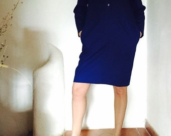 Vintage dress deep blue-free shipping