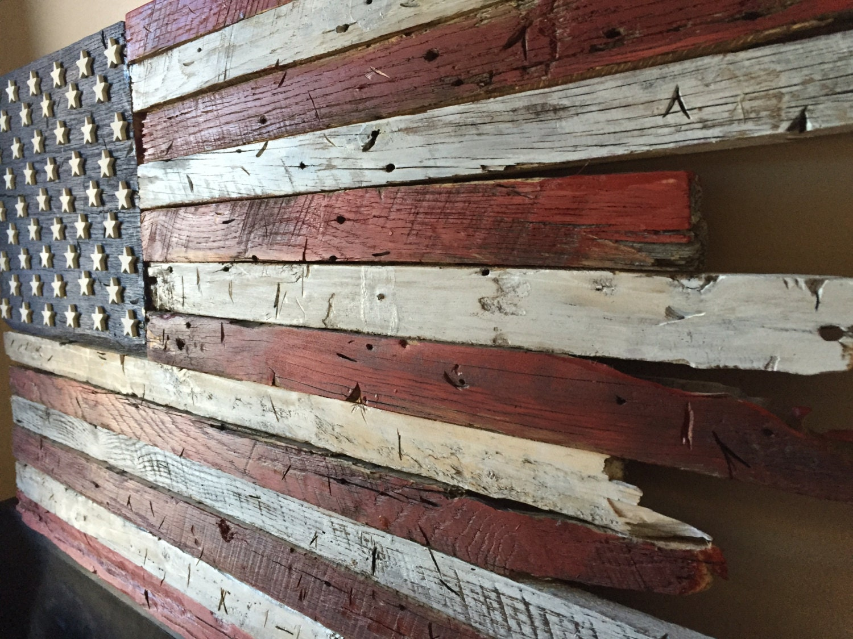 Wooden flag barn wood rustic american