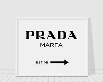 Prada Marfa sign print, Prada white version, Gossip girl sign, prada poster, typography wall decor,fashion print,chic print,instant download