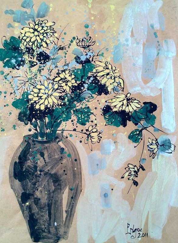 """YELLOW DAISIES 16x20"""" gouache on paper, flowers, floral wall decor, original painting by Nguyen Ly Phuong Ngoc"""