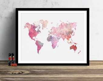 World Map Watercolor Illustration Art Print Large Map Print Map Wall Art Poster Home Decor Gift PRINT #CRUSHED PINK