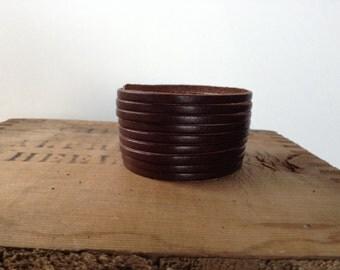 Bracelet into strips * genuine leather * Red * Black * Brown * Brown tan * custom