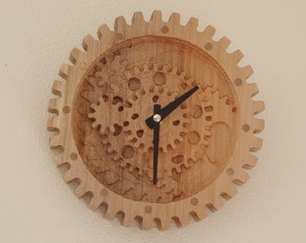 Carved wooden gear wall clock